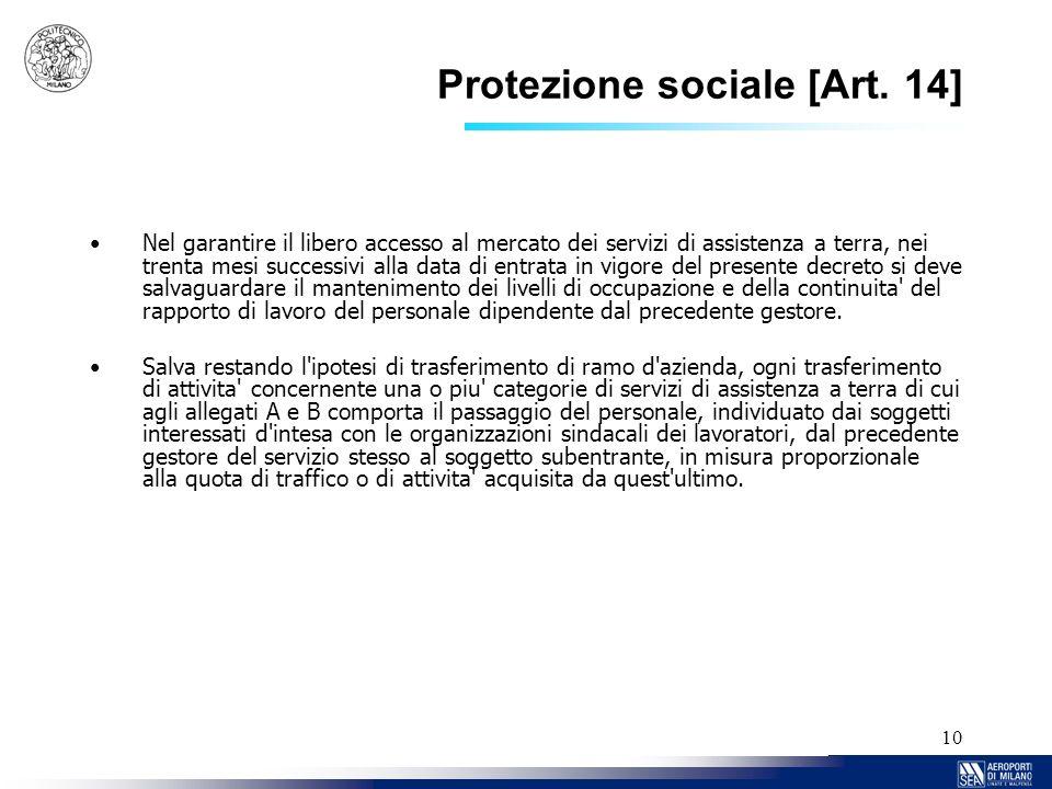 Protezione sociale [Art. 14]